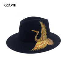 GGOMU fashion Brand Spring Winter Wool Fedora hat for Women 4 species Hand Painted Chinese style design Jazz Panama hat ZLH-163