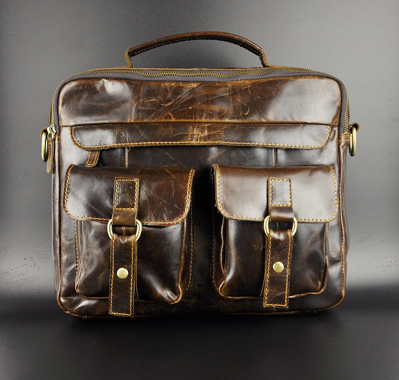 Mens Genuine crazy horse  Leather Antique Style Briefcases Business 13 Laptop Cases Attache Messenger Bags Tote<br><br>Aliexpress
