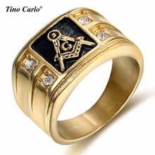 HIP Hop Freemason Ring Iced Out Gold Free Mason Ring Stainless Steel Black Oil Masonic Signet Ring Band for Men Women Jewelry