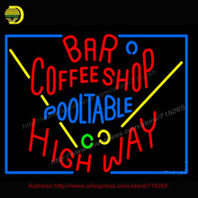 Bar Coffee Shop Pool Table Neon Sign Real Glass Neon Art  Tube vintage Sign Handcrafted neon sign for Business Store  24x31