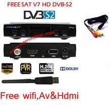 2PCS Freesat V7 with 2PCS USB WIFI satelite DVB-S2 with Ccamnecamd powervu youtube Satellite Receiver freesat v7 S2