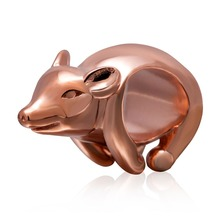 Original 925 Sterling Silver Rose Gold Plated Pig Beads Charm Fits for DIY Bracelets Free Shipping
