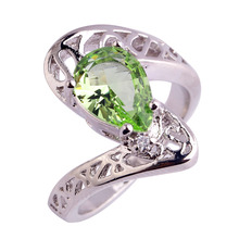 lingmei Shinning Art Deco Pear Light Green  Silver Ring Size 6 7 8 9 Jewelry Rings Women Gift Wholesale Free Shipping