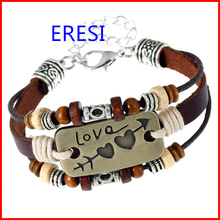 Fashion Jewelry Vintage Leather Charm Bracelet Welcome Clients OWN Designs New Lover Bracelet