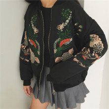 Spring new Japanese Harajuku embroidery loose baseball jacket thick long sleeve coat