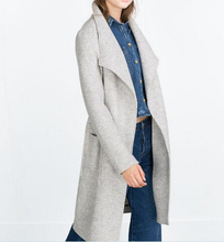2015 Autumn Winter New Genuine Womens Fashion Light Grey X-Long Wool Loose Wrapped Oversized Coat Cardigan large lapel woolen(China)