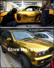 Free Shipping By Fedex Gold Chrome Carbon Film Vinyl Glossy Film Car Wrapping Sticker Mirror Air Bubbles 5M /10M/20M/30M #B111C