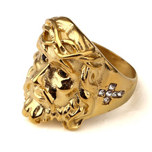 Golden Women Men Steel 3D Christ Jesus Rings Bling Iced Out CZ  Crystal Cristo Redentor RING Hip Hop Jewelry Gifts