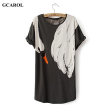 GCAROL Women Animal Fox Swan Print Tshirt Casual Fashion Summer Spring Basic Tops Girl's Street Wear Tees(China)