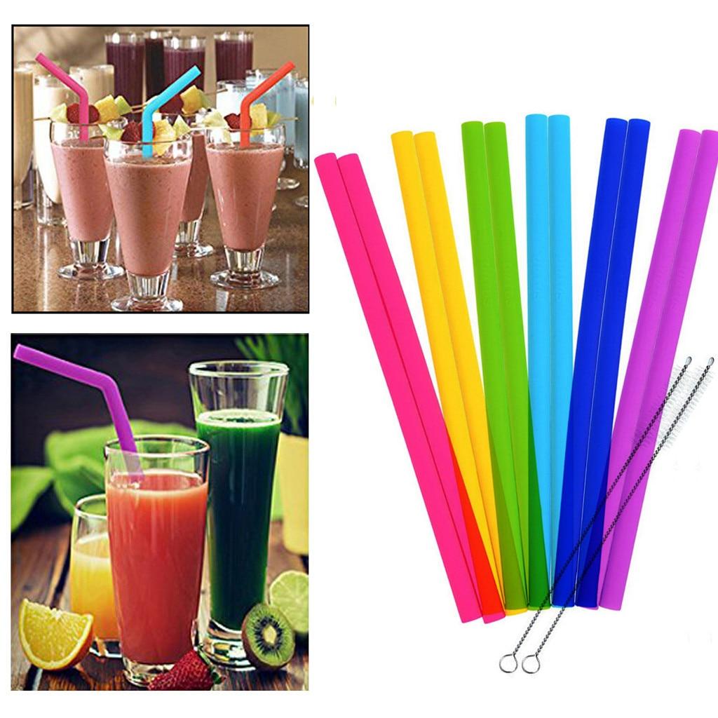 batidos de leche bebidas grandes Azul y rosa. Pajita de silicona plegable Boba Pajitas para batidos port/átiles y reutilizables juego de pajitas con cepillo de limpieza y estuche para bubble tea