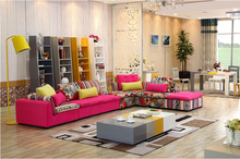 U-BEST high quality sectional sofa pink fabric 6 seat sofa compenhagen,Sectional Sofa Set Sofa Reversible Chaise(China)