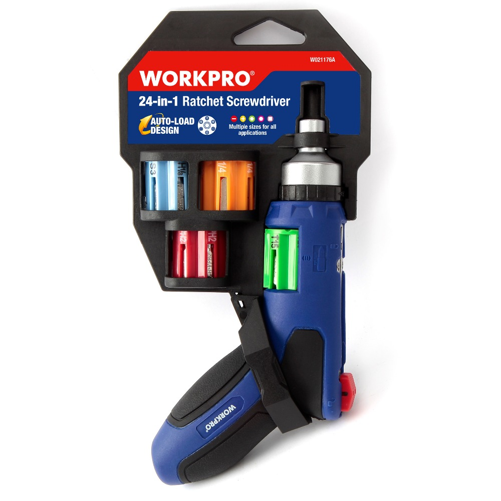 WORKPRO 24 IN 1 Auto Loading Ratchet Screwdriver with Bits Set Easy Change Multiple size for all applications<br>
