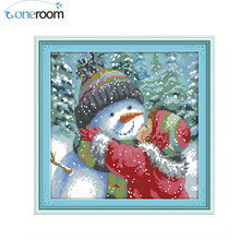 N2th Kiss the Snowman Counted Cross Stitch 11CT 14CT Cross Stitch Sets cartoon Cross-stitch Kits Embroidery Needlework