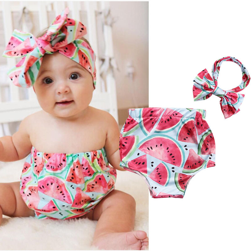 0-24Months 2PCS Cute Newborn Baby Girl Clothes Summer Watermelon Infant Bebes Bodysuit Romper Jumpsuit +Headband Outfit Sunsuit