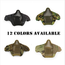 Hot Airsoft Mask Half Lower Face Metal Steel Net Mesh Mask Hunting Tactical Protective CS Halloween Party Half Face Mask GPD8237