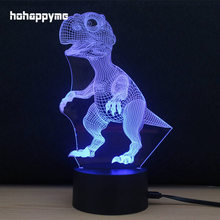 Dinosaurs Neon Light Sign 7 Colors Changing LED Glitter Acrylic Sheet Plaques Desktop Lamp Decoration Home Decor
