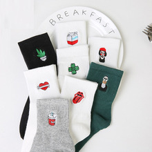 Korean Harajuku Funny Cartoon Black White Short Sock Novelty Women Milk Box Beard Rose Heart Radio Embroidery Cotton Socks