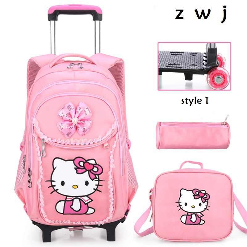 Buy 1 get 3 Hello Kitty Children School Bags set Kids Suitcase With Wheels  Trolley Luggage 4762afc8f1