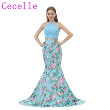 2018 Blue Floral Print Long Prom Dresses 2 Pieces Mermaid Lace Top Halter Colorful Teens Prom Party Dress Custom Evening Gown(China)
