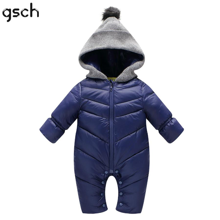 GSCH Baby Clothes Christmas Baby Girls Winter Snowsuit 0-18M Hooded Warm Thick Baby Boy Romper Overalls Ensemble de vetements<br><br>Aliexpress