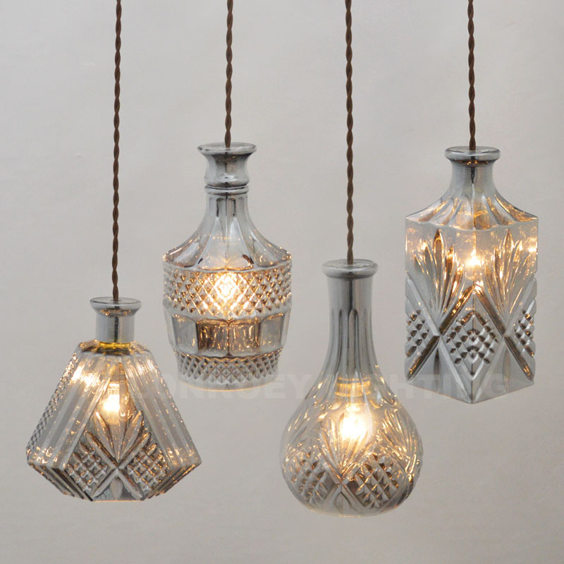 Modern Glass Lamp Vintage Wine Bottle Pendant Lights CafeRoom/Bar Lamp Single Glass Pendant Lamps Decoration Indoor Lighting E27<br>