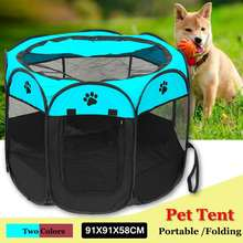 Playpen 8 Panels Dog Cat Fence Tent Pet Puppy Crate Cage Portable House Kennel Carrier Foldable Hammock 91X91X58CM 2 Colors(China)