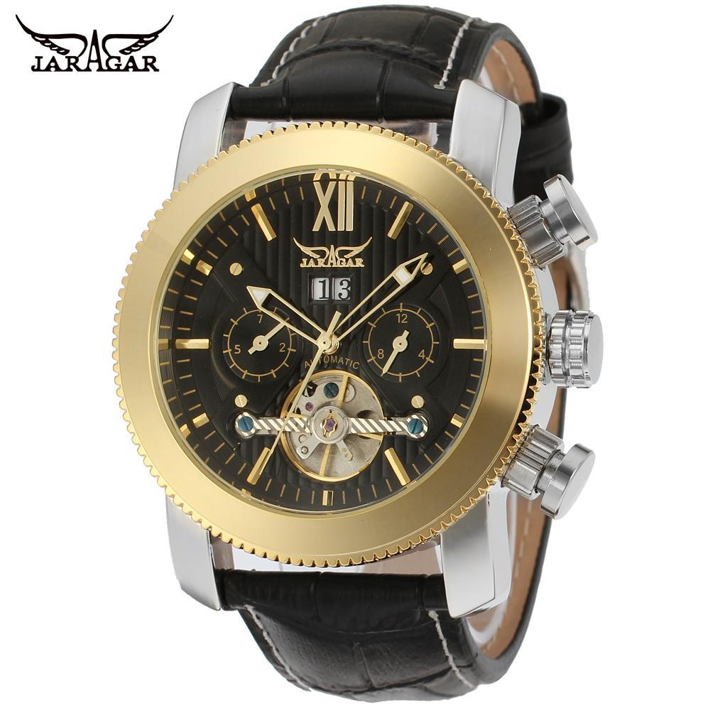 JARGAR Mens Watch Classic Tourbillion Automatic Calendar Branded  Leather Strap Black Color JAG510M3<br>
