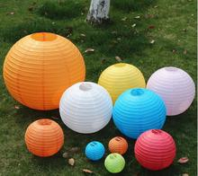 "10 Pieces 6"" 8"" 10""12"" 14"" 16"" White Pink Purple Light Blue Chinese Paper Lanterns Round Paper Ball Lamps Wedding Party Decor(China)"