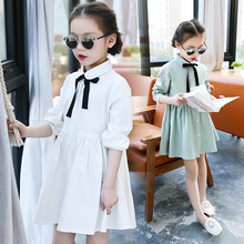 New 2017 Girls Spring Dress Kids Cotton Dress Children Long Sleeve Dress Baby Bow-knot Dress Preppy Style Toddler Clothes,4-14Y