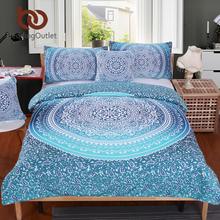 BeddingOutlet Luxury Boho Bedding Set Queen Crystal Arrays Duvet Quilt Cover with Pillow Case Blue Printed Bedspread 4Pcs 2017