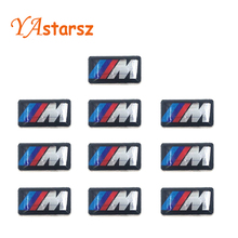10XCar stickers M small Decorative Badge Hub caps Steering wheel for BMW M Series M1 M3 M5 M6 X1 X3 X5 X6 E34 E36 E6 car styling
