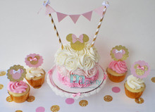 1set Minnie Mini CAKE Bunting flag banner and mini party hat set, first birthday, baby, birthday, birthday banner, cake smash