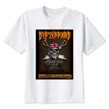 def leppard  t shirt men Summer print T Shirt boy short sleeve with white color Fashion Top Tees MR2830