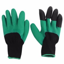Wholesale 50pairs As seen on TV Rubber+Polyester builders garden work genie latex gloves with 4 Claws(China)