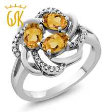 Amazing USA Gemstoneking 1.57 Ct Oval Yellow Citrine 925 Sterling Silver Flower Blossom Ring Natural Women Fashion Jewellery