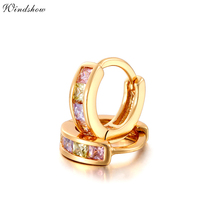Gold Color Pave Colors Zirconia CZ Small Circles Huggies Hoop Earrings For Children Girls Baby Kids Jewelry brinco pequeno Aros(China)