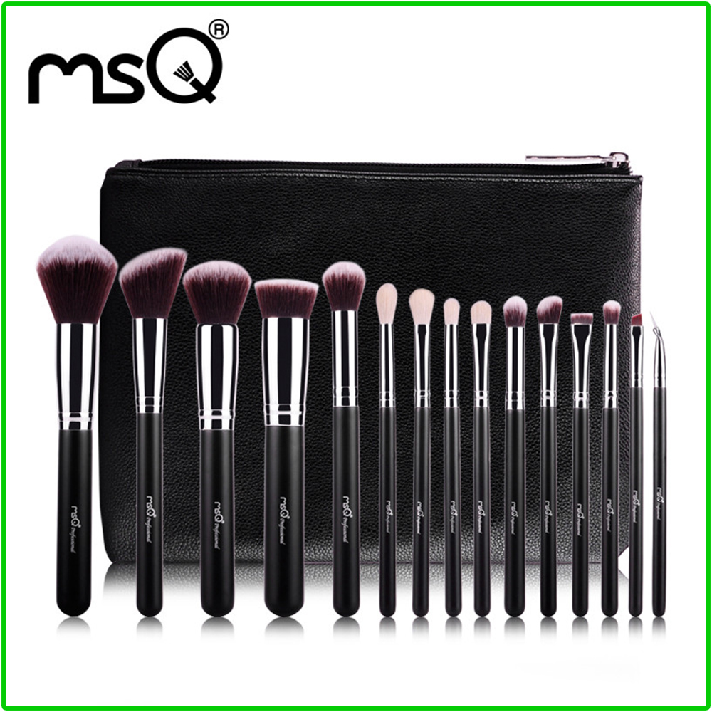 MSQ 15 Pcs Professional Makeup Brushes Set High Quality Goal Synthetic Hair Kabuki Brush with PU Leather Case For Beauty Brushes<br>