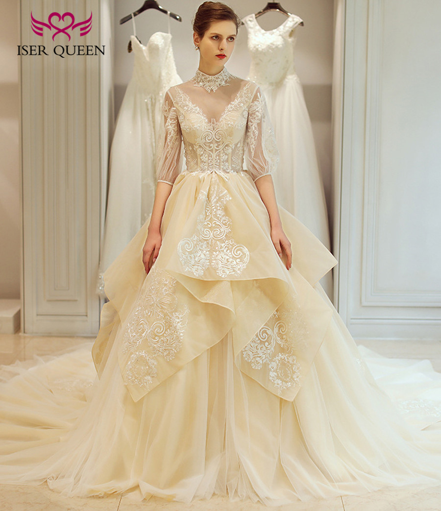 Detail Feedback Questions About High Neck Long Train European Princess Wedding Dresses Ball Gown Plus Size Tiered Illusion Lace Elegant Dress Wx0112: Lacey Elegant Wedding Dresses At Reisefeber.org