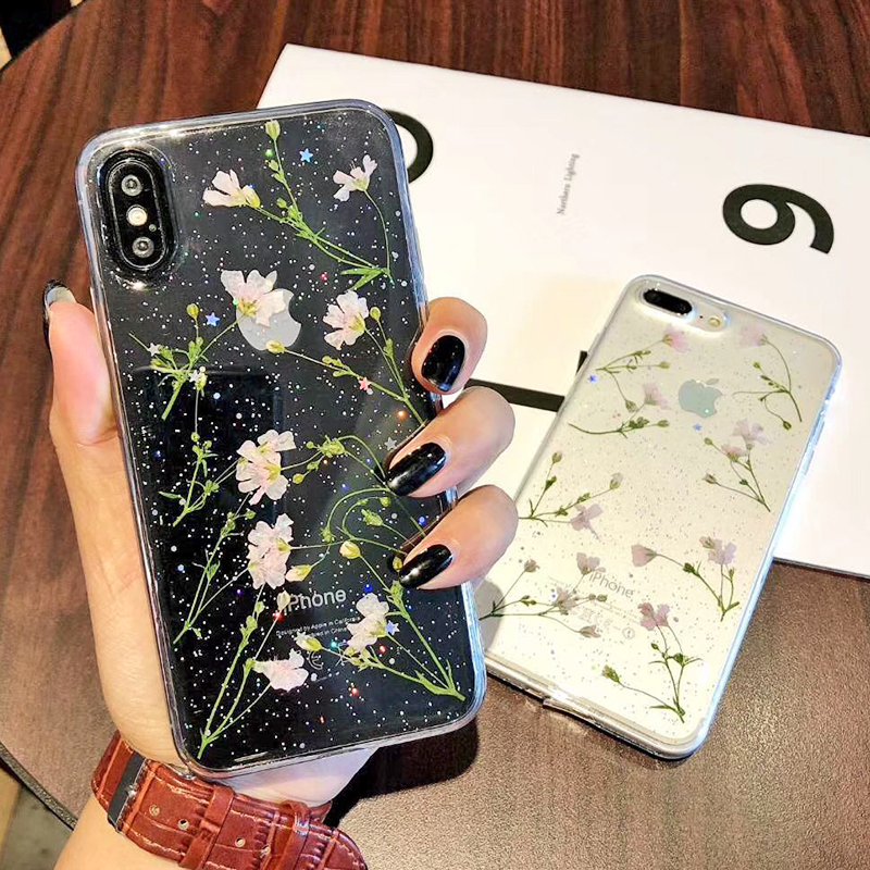 Clear Phone Cases For iPhone X Fashion Real Dried Flower Cases For iphone 6 6S 7 Plus Floral Back Cover For iPhone 8 Plus Fundas (7)