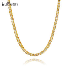 LuReen Hiphop 1 Row 5mm Round Cut Tennis Necklace Chain 20inch -30inch Iced Out Bling Lion Long Necklace For Men Jewelry LN0230(China)