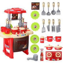 Kids Simulation Kitchen Cookware Pretend Role Play Toy with Music Light Food Cooking Pretend Game Toys Funny Gift for Children