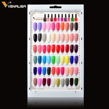 Venalisa 60 Colors 7.5 ml Soak Off UV LED Gel varnish fake tips colors Real chart display free shipping(China)