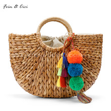beach bag straw totes bag bucket summer bags with tassels pom pom pompon women natural basket handbag 2017 new high quality(China)