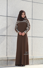 KYLE & JANE hijab long dress Sunshine yarn fabric evening dresses long elegant with White and Brown stitching robe 0280(China)