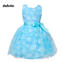 Nacolleo Girls Flower Dress New Style Floral Print Kids Dress Clothes Summer Blue Children Vestido Kids Princess Party Costume