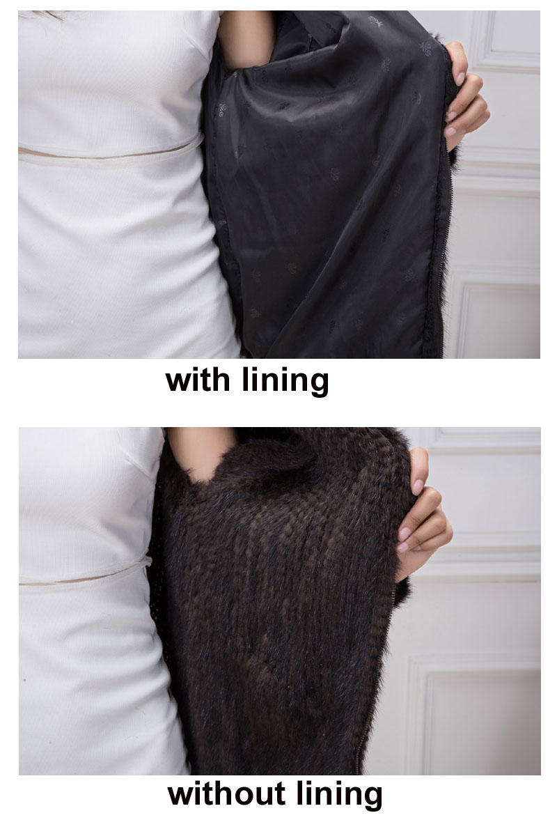 knit mink fur details lining