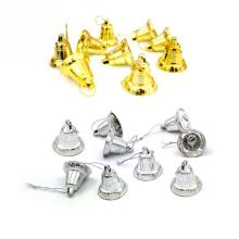 Hot Selling Christmas Decor 9PCS plastic gold/silver bell Christmas decor Opening bell trumpet bells for Christmas tree 3cm*4cm