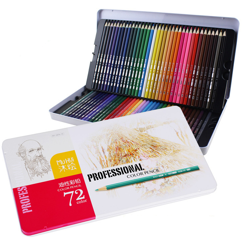72 Colors Iron Box Packing Color Pencil Oily Pastel Pencils Student Coloring Drawing Pencils for School Matite Colorate<br>