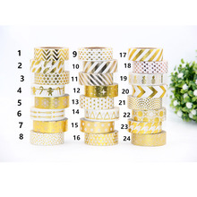 Hot sales!! 10m Gold Foil decorative scotch tape dot, pineapple,heart, strip masking Christmas Japanese washi tape(China)