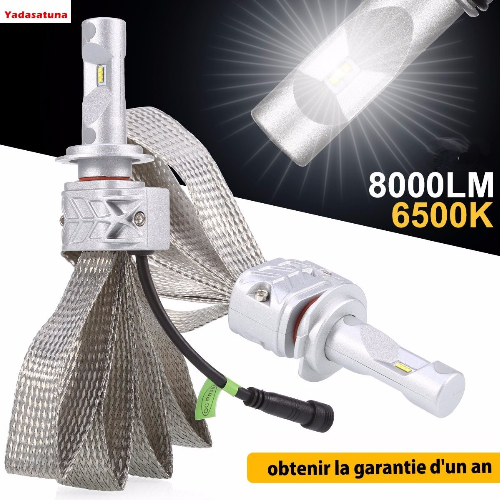 2Pieces/lot H7 Phare LED PHI-ZES Ampoules, Voiture LED 60W 6500K 8000LM Super Lumieuse Lampe,Notez la taille dune moto<br>